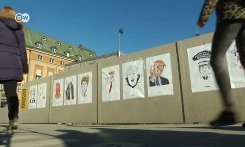 Stockholm Sokaklarında Trump Çizimleri