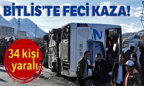 Bitlis'te Yolcu Otobüsü ile Tır Çarpıştı 34 Yaralı