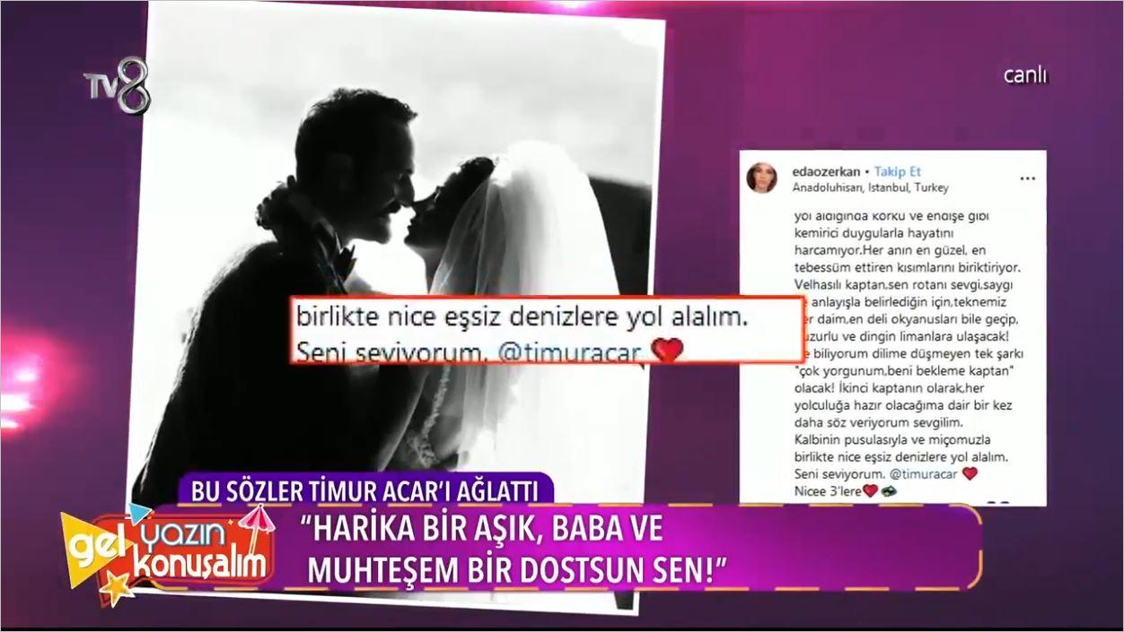 Eda Özerkan'dan Eşi Timur Acar'ı Ağlatan Sözler