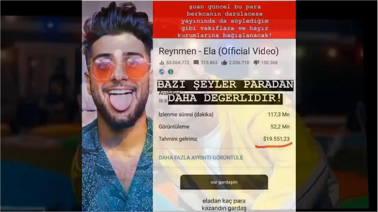 Reynmen Ela Şarkısından İşte Bu Kadar Kazanmış
